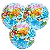 3 x Atlas Bolas de Estrés, Globo, Mapa del Mundo Squeezy Bolas ideal para TDAH, Autismo