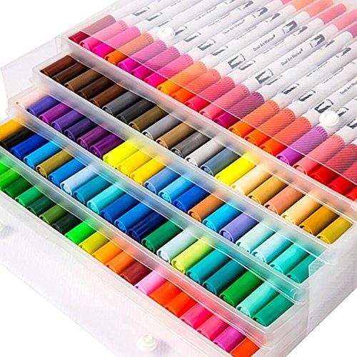 Touchfive 60/80/100 Farben Marker Stifte Dual Spitze Marker Brush Marker Pens Graffiti Stifte für Kinder oder Erwachsene (100 Farben Marker)