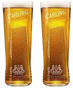 Verre à bière Carling Lager Marteau à panne fendue (Verres) CE–Lot de 2verres