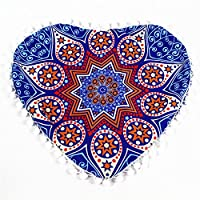 Viahwyt New Home Gift 2 Size Heart-shaped Indian Pouf Mandala Meditation Cushion Cover Bohemian Floor Throw Pillow Cases Room Sofa Decor New Home Gifts For Couple (EE, 43x35)