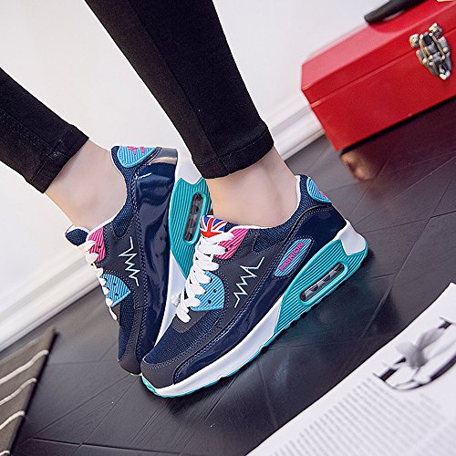 Peggie House Baskets Chaussures Jogging Course Gym Fitness Sport Lacet Sneakers Style Running Multicolore Respirante Femme Bleu Foncé