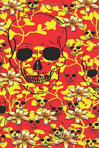 Notebook: Red Floral Flower Skulls All Over Print Design 6 x 9 Blank Empty Unlined 200 Numbered Pages - Glossy Cover - Drawing / Sketchbook- Doodling ... - To Do Lists - Capture Ideas - Taking Notes (X-heavy Roll)