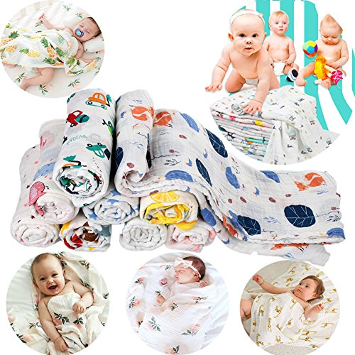Miyanuby Newborn Baby Infant Muslin Gauze Cotton Swaddle Wrap Blanket Bed Sheet 120cm x 120cm Pack of 3PCS