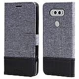 LG V20 Etui portefeuille sac en simili-cuir textile couverture Téléphone cas pour les cartes de visite et encore fonction (NOIR)