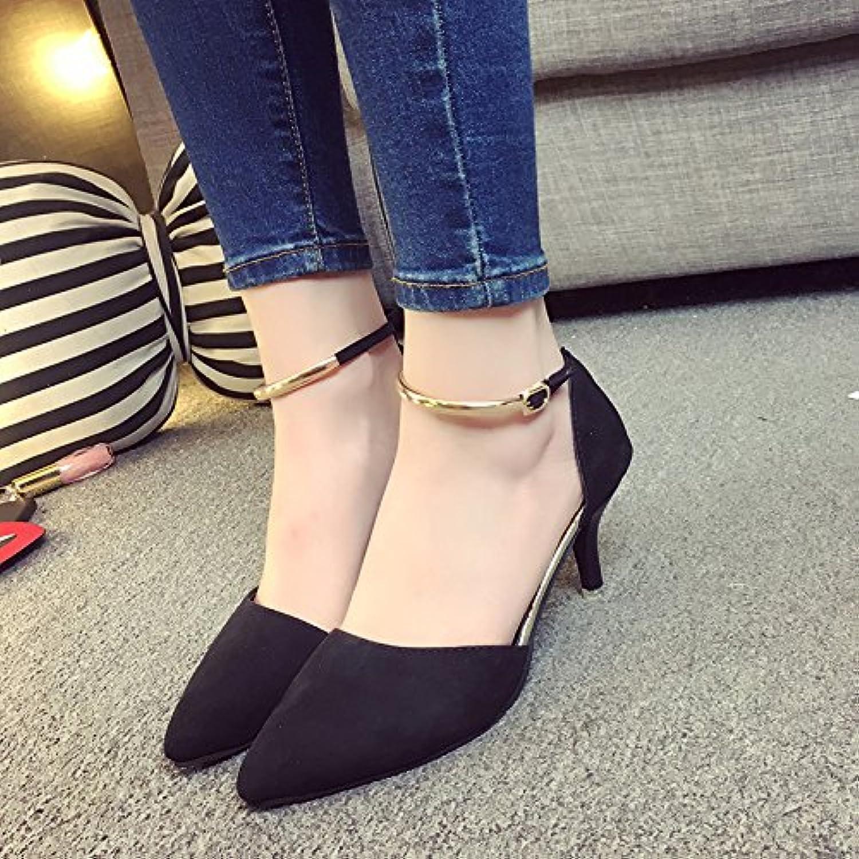 SHOESHAOGE Ein Wort Wölbung Sandalen Spitzen Fersen Fersen Im Sommer Mit Baotou Flachen Mund Weibliche Schuheö