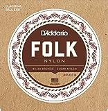 D'Addario Cordes en nylon pour guitare folk D'Addario EJ33, extrémité à boule, bronze 80/20/cordes aiguës en nylon translucide