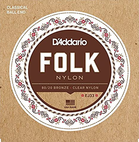 D'Addario EJ33 Folk Nylon Normal (.028-.045) Ball End Folk Guitar Strings