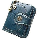 Coopay Monedero pequeño compacto Mini billetera de cuero PU para mujer, Regalo de niña adolescente, Titular inteligente Hoja