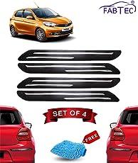 FABTEC Rubber Car Bumper Protector Guard with Chrome Strip for Tata Tiago (Set of 4) Black (Double Chrome)