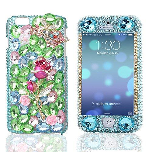 IPhone 6 Plus Case-Custodia gioiello 3D serie EVTECH con cristalli blu, Front & Back Cover posteriore rigida a scatto Silver Cross Pearls Green Leaf and Rose