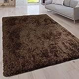 Paco Home Hochflor Wohnzimmer Teppich Waschbar Shaggy Uni In Versch. Größen u. Farben, Grösse:80x150 cm, Farbe:Braun