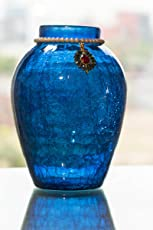 Homesake Crackle Flower Pot with Brooch Neck Blue
