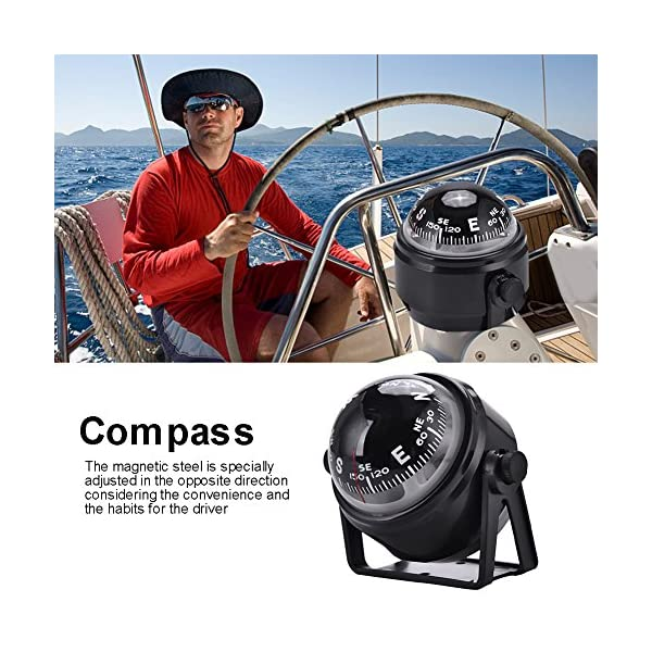 Dilwe Boat Compass, Black Electronic Adjustable Compass for Boat Night Vision 4