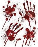 Halloween Bloody Hands Window Stickers - Bloody designs HAND PRINTS with Blood Splatter