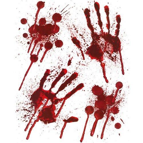 Preisvergleich Produktbild Halloween Blutige Hände Fensteraufkleber - blutige designs HAND MUSTER mit Blutspritzer