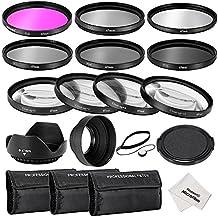 Neewer® 67MM Professionelle Komplette Objektiv-Filter Zubehörsatz für CANON EOS 70D 60D 7D EOS 700D 650D 6D 600D 550D / T5i T4i T3i T3 T2i DSLR-Kameras, Set umfasst: (1) Filterset (UV, CPL, FLD) + (1) Makro Close -up Filter Set (+1, +2, +4, +10) + (1) Graufilter Set (ND2, ND4, ND8) + (1) 3-in-1 Faltbare Sonnenblende + (1) Tulpen Objektiv Hood + (1) Snap-on Vorderer Objektivdeckel + (1) Kappe Wächter Leine + (3) Filter Tragebeutel + (1) Mikrofaser Reinigungstuch