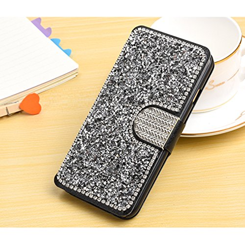 PU Cuir Coque Étui Housse pour iPhone 7 / iPhone 8 avec Stand Fonction Magnétique Anti Choc Perfekt Folio Protection Case Silicone Souple Shell,Sunroyal Portefeuille Protection Etui en Cuir Flip Cover Strass Argent