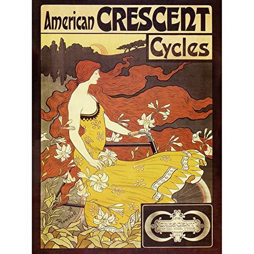 Ramsdell American Crescent Cycles Nouveau Advert Art Print Canvas Premium Wall Decor Poster Mural amerikanisch Jugendstil Werbung Wand Deko - Art Canvas Print