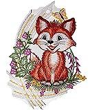 bezauberndes Fensterbild 20x30 cm + Saugnapf PLAUENER SPITZE® lustiger FUCHS mit Schmetterling farbig Spitzenbild Frühling SOMMER Herbst