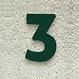 Colours-Manufaktur Hausnummer Nr. 3 - Schriftart: Modern - Höhe: 20-30 cm - viele Farben wählbar (RAL 6005 moosgrün (grün) glänzend, 20 cm)