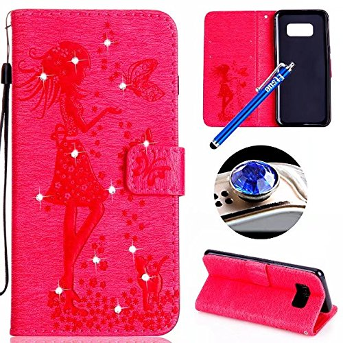 Etsue Glitter Leather Case for Samsung Galaxy S8 Plus Strap Style Crystal Rhinestone Shiny Glitter Diamond Butterfly Girl Flower Cat Pattern, Samsung Galaxy S8 Plus Flip Case Cover with Strap Magnetic Stand Leather Wallet Case Card Holder for Samsung Galaxy S8 Plus + Blue Stylus Pen+Bling Glitter Diamond Dust Plug-Butterfly Cat,Hot Pink