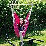 XXL Hängestuhl 2 Personen max. 150 kg 185×130 cm Hängesitz 100% Baumwolle Hängesessel inkl. Swivel Trendfarbe 2015 Orchidee - 2