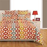 #9: Swayam Eco Sparkle 140 TC Cotton Bedsheet with 2 Pillow Covers - King Size, Orange
