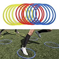 TOPAUP Sport Speed Rings 12PCS Training Agility Footwork Ring for Tennis Soccer Football Basketball Training Aid