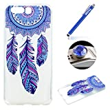 Huawei P10 Tpu Case,Huawei P10 Clear Case,Etsue Pretty Blue Feather Dreamcatcher Pattern Slim Fit Soft Gel Tpu Rubber Case Cover for Huawei P10+Blue Stylus Pen+Bling Glitter Diamond Dust Plug(Colors Random)-Blue Feather Dreamcatcher