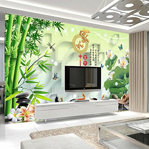 XLi-You 3D-TV-Wand chinesische Unternehmen und Reiche bamboo Lotus 9 Fisch Abbildung Malerei Wohnzimmer Wände Tapeten 350cmX270cm Unternehmens-tv
