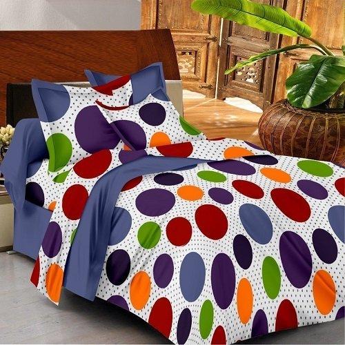 Casa Copenhagen- Basic 144 Thread Count 100% Cotton Double Bedsheet With 2 Pillow Cover- white,Orange,Purple & Green