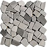 1 Netz Bruchmosaik Grau Kalkstein Holzoptik grau