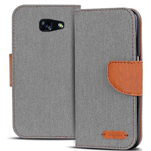 Conie Textil Hülle kompatibel mit Samsung Galaxy A3 2017, Booklet Cover Silberne Handytasche Klapphülle Etui mit Kartenfächer
