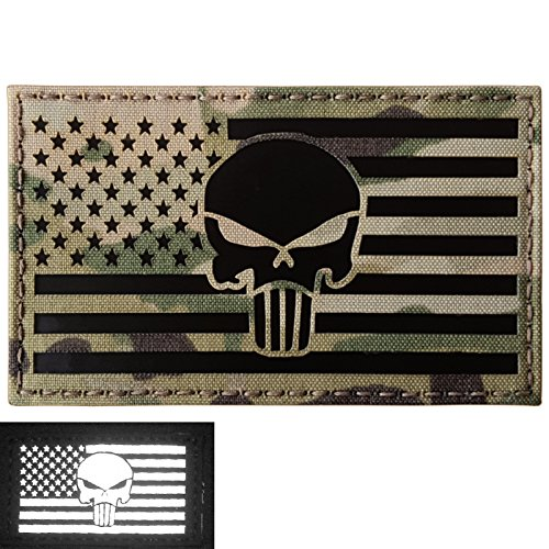 Big 3x5 Multicam Infrared IR USA American Flag Punisher Skull IFF Tactical Morale Hook-and-Loop Patch - Big 3x5 Flag