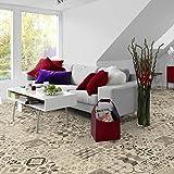 livingfloor® PVC Bodenbelag Shabby Retro Fliesenoptik Mediterran Schwarz/Weiss 2m Breite, Länge variabel Meterware, Größe: Musterstück