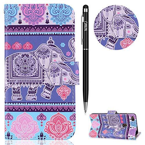 WIWJ Huawei P8 Lite 2017 Hülle,Huawei P8 Lite 2017 Leder Handyhülle, Wallet Case[Lanyard Halterung Schutzhüllen für Huawei P8 Lite 2017-Elefant