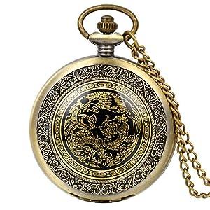 JewelryWe Retro Taschenuhr Drachen Phönix Herren Kettenuhr Analog Quarz Uhr mit Halskette Kette Pocket Watch