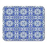 Computer Matte,Portugiesische Azulejo Fliesen Blau Und Weiß Wunderschöne Muster Für Hüllen Smartphones Handtücher Bettwäsche Mauspad Matten, 25X30Cm