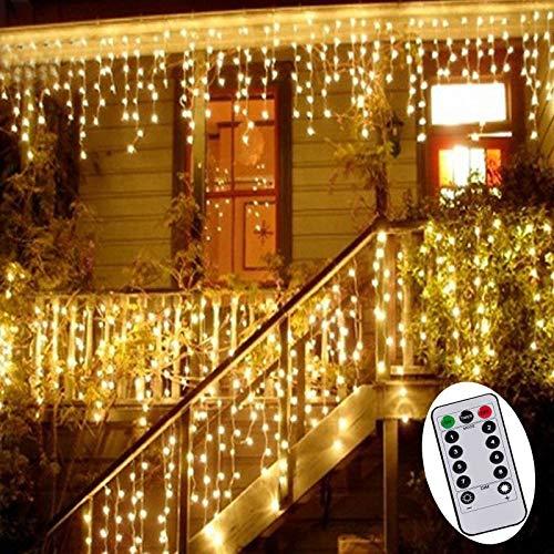 3M Eisregen Lichterkette Batterienbetrieben Lichtervorhang Weihnachten Lichter Außen Innen Deko für Garten Party Hochzeit Strombetrieben -