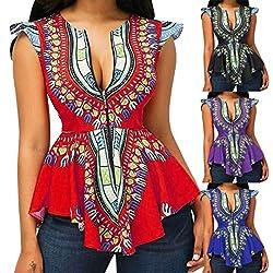 Wawer Women Summer Cap Sleeve Shirt Vest Ladies Boho Printed Asymmetric Hem Zipper Blouse Tops Shirt for Dance/Club/Party/Daily,S-2XL by Wawer