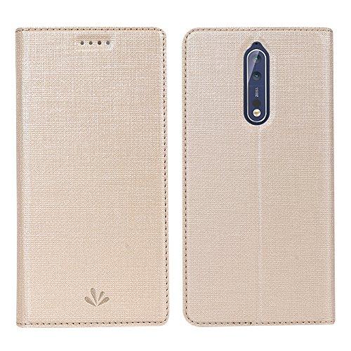 Nokia 8 Handyhülle, Feitenn dünne Premium PU Leder Flip Handy Schutzhülle | TPU-Stoßstange, Magnetverschluss, Kartenschlitz, Kameraschutz- und Standfunktion Brieftasche Etui (Grau) Champagner Gold