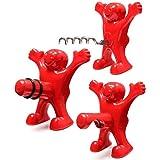 Roter Mann Flaschenöffner, Weinflasche Stopper,Weinflasche Korkenzieher, Bierflasche Opener,Geschenkset, Rot