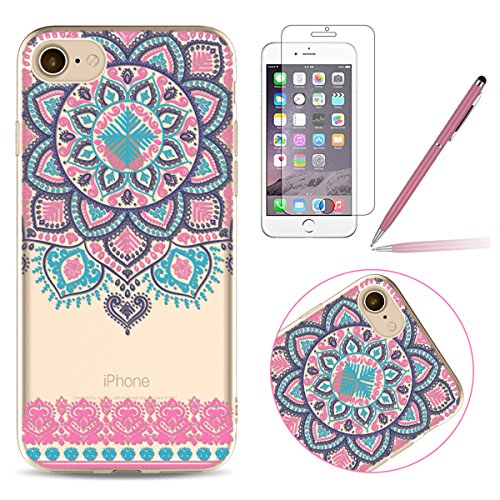 iPhone 6 Silicone Case,iPhone 6S Coque - Felfy Coque Souple Transparente Gel TPU Soft Silicone Case éléphant Fleur Campanule Plume Totem Motif Design Premium Ultra-Light Ultra-Mince Skin de Protection #02