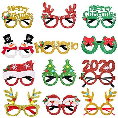 Sunarrive 12 Stück Lustige Weihnachtsbrillen für Erwachsene Kinder - Lustig Brille Weihnachten Glitzer - Weihnachts Accessoires Partybrillen