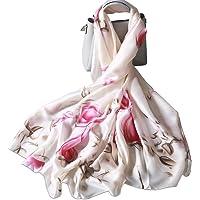 LumiSyne Sciarpa Di Seta Donna Fiore Stampato Moda Ed Elegante Stile Scialle Lungo e Morbido Foulard Calda Stole…