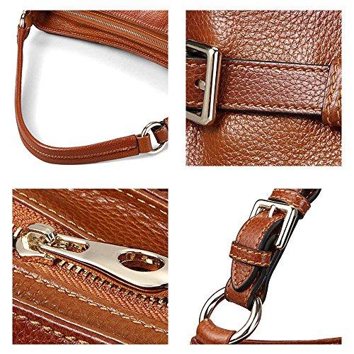 Retro Genuine Leather Hobo di spalla delle donne della borsa Myleas Marrone