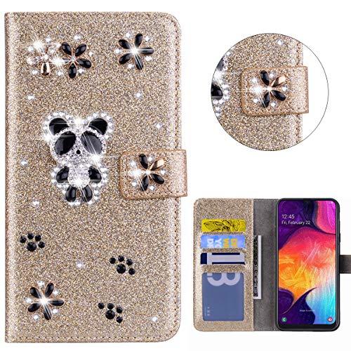 XFZ DIY Glitzer Lederhülle für Samsung Galaxy A50 PU Ledertasche Glänzende Strass Hülle 3D Panda Design Crystal Schutzhülle Flip Cover Bumper Handyhülle mit Kartenfächer Etui - Gold Strass-panda