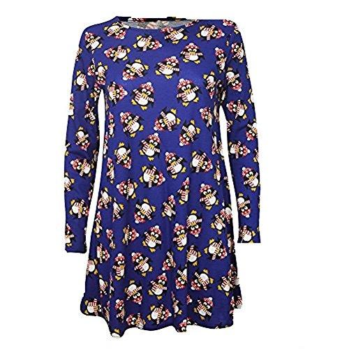 Fashion 4 Less - Robe - Robe de swing - Manches Longues - Femme Bleu - Royal Penguin