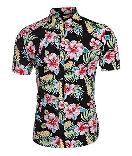 Herren Urlaub Strand Hawaii Blattaufdruck-Hemd, S