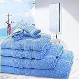 6 Towel Set Bathroom Cotton Blend Towel Set Face/Hand/Bath Towels (Blue)